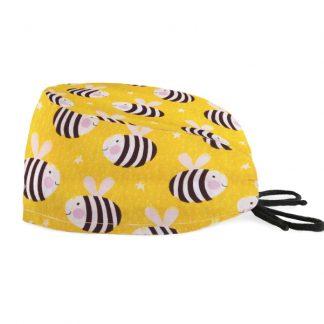 czepek medyczny #26A w pracowite pszczoły na żółtym tle