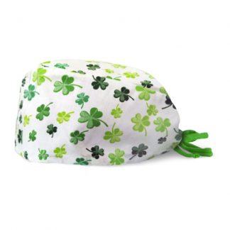 czepek medyczny #3A w zieloną koniczynkę