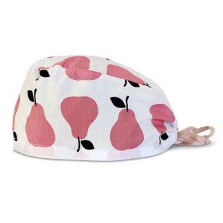 czepek medyczny #6D w różowe gruszki na białym tle